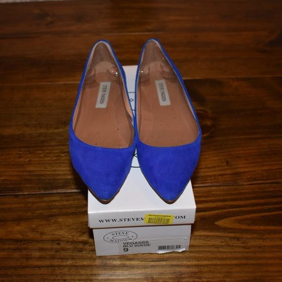 07ff053abea Steve Madden Blue Suede Ballet Flats
